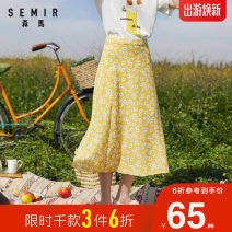 skirt Summer 2020 155/80A/S,160/84A/M,165/88A/L,170/92A/XL Green and white version d0341, yellow and white version d0331, black and white version d0391 Mid length dress Retro Natural waist A-line skirt Broken flowers Type A 18-24 years old More than 95% Semir / SEMA polyester fiber printing