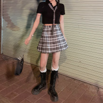 skirt Summer 2021 S,M,L Black and white Short skirt commute High waist lattice Type A 18-24 years old Y812Q 31% (inclusive) - 50% (inclusive) other Korean version