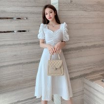 Dress Summer 2021 White, purple S,M,L,XL Mid length dress singleton  Short sleeve commute V-neck High waist Solid color Socket A-line skirt puff sleeve Others Type A Retro