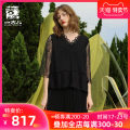T-shirt black S M L XL Spring 2021 Long sleeves V-neck easy Regular routine commute polyester fiber 96% and above 25-29 years old Solid color Jiqiu Gul G211Y015 Lace pleated hollow Polyester 100% Same model in shopping mall (sold online and offline)