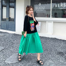 Women's large Summer 2020 Black green, grey rose red Loose oversize [100-260 kg recommended] Dress cotton