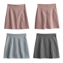skirt Summer 2021 XL,L,M,S Blue, black, pink Short skirt commute High waist A-line skirt lattice Type A 18-24 years old 71% (inclusive) - 80% (inclusive) other Korean version
