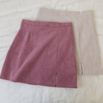 skirt Winter 2020 S,M,L,XL Apricot, pink Short skirt commute High waist A-line skirt Solid color Type A 18-24 years old FA31 71% (inclusive) - 80% (inclusive) corduroy other zipper Korean version