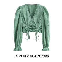 shirt Green 2121 , White 2121 S,M,L Summer 2021 cotton 51% (inclusive) - 70% (inclusive) Long sleeves commute Short style (40cm < length ≤ 50cm) V-neck Socket bishop sleeve Solid color Retro pure cotton