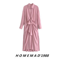 Dress Spring 2021 Pink 60512 S,M,L longuette singleton  Long sleeves street Polo collar middle-waisted Solid color other Bat sleeve 31% (inclusive) - 50% (inclusive) other cotton Europe and America