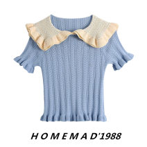 Wool knitwear Spring 2021 S,M,L Fog blue 1162 Short sleeve singleton  Socket cotton 51% (inclusive) - 70% (inclusive) have cash less than that is registered in the accounts Thin money Sweet routine Solid color Socket