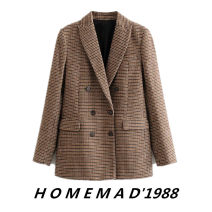 woolen coat Winter of 2019 XS,S,M,L Checkerboard 2490 other 31% (inclusive) - 50% (inclusive) routine Long sleeves street double-breasted routine tailored collar lattice Imitation fabric Europe and America