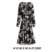 Dress Autumn 2020 Decor 8542 S,M,L Mid length dress singleton  Long sleeves street V-neck Loose waist Decor Socket Big swing other 51% (inclusive) - 70% (inclusive) cotton Europe and America