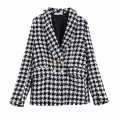 woolen coat Autumn 2020 XS,S,M,L other 31% (inclusive) - 50% (inclusive) routine Long sleeves street double-breasted routine tailored collar lattice Imitation fabric Europe and America
