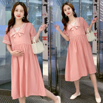 Dress Summer 2021 Pink, blue M,L,XL,XXL Mid length dress Long sleeves commute other Solid color other