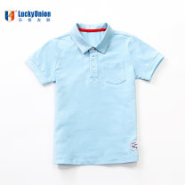 T-shirt 72123 light gray Polo boy 72123 big red Polo boy 72123 light blue polo boy 72125 white short sleeve shirt boy 72125 Blue Short Sleeve Shirt Boy 72319 Pink Short Sleeve Polo girl 72319 green short sleeve polo girl Lucky Union 90cm 100cm 110cm 120cm currency Crew neck leisure time cotton