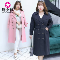Windbreaker Autumn of 2018 XL XXL XXXL 4XL Pink Black Long sleeves routine Medium length commute V-neck routine Solid color Korean version Fat girl A096 25-29 years old 31% (inclusive) - 50% (inclusive) cotton polyester fiber Cotton 50% polyester 50% Pure e-commerce (online only)