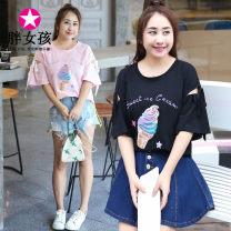 T-shirt Pink White Black XL XXL XXXL XXXXL Summer of 2018 Short sleeve Crew neck easy Regular routine commute cotton 86% (inclusive) -95% (inclusive) Korean version Fat girl Cotton 95% polyurethane elastic fiber (spandex) 5% Pure e-commerce (online only)