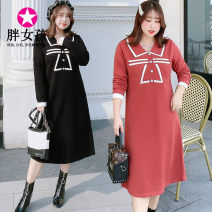 Dress Winter of 2019 XL XXL XXXL 4XL Mid length dress singleton  Long sleeves commute Doll Collar routine Others 25-29 years old Fat girl Korean version M059 More than 95% polyester fiber Polyester 100% Pure e-commerce (online only)