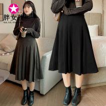 skirt Winter 2020 XL XXL XXXL 4XL Brown Black Middle-skirt Versatile High waist A-line skirt Solid color 81% (inclusive) - 90% (inclusive) Fat girl polyester fiber Polyester 85% viscose 12% polyurethane elastic 3%