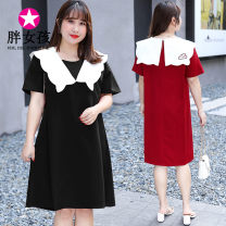 Dress 25-29 years old 2001 Fat girl Summer 2020 Medium length skirt Short sleeve Lotus leaf collar singleton  commute routine Solid color More than 95% polyester fiber Polyester 100% Pure e-commerce (online sales only) lady Other XL XXL XXXL 4XL