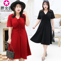 Dress Summer of 2019 Black red XL XXL XXXL 4XL Middle-skirt singleton  Short sleeve commute V-neck Solid color routine 25-29 years old Fat girl lady More than 95% polyester fiber Polyethylene terephthalate (PET) 95% polyurethane elastic fiber (spandex) 5% Pure e-commerce (online only)