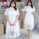 Dress Summer 2020 Pearl White XL XXL XXXL 4XL Mid length dress singleton  Short sleeve commute other Solid color Pleated skirt Others 25-29 years old Fat girl lady W178 More than 95% Chiffon polyester fiber Polyester fiber 95% polyethylene terephthalate (polyester) 5% Pure e-commerce (online only)