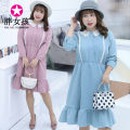 Dress Autumn of 2018 Pink Blue XL XXL XXXL 4XL Middle-skirt Long sleeves commute Doll Collar 25-29 years old Fat girl Korean version More than 95% polyester fiber Polyester 100% Pure e-commerce (online only)