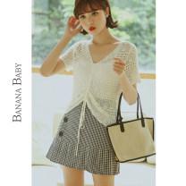 skirt Summer 2020 S M L Hagrid Short skirt commute High waist A-line skirt lattice Type A 25-29 years old D202QZ672 More than 95% BANANA BABY polyester fiber Polyester 95.7% polyurethane elastic fiber (spandex) 4.3% Pure e-commerce (online only)