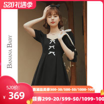 Dress Summer 2021 Short skirt Short sleeve singleton  commute Solid color square neck High waist Condom A-line skirt 25-29 years old puff sleeve 91% (inclusive) - 95% (inclusive) polyester fiber D212LY750 Button BANANA BABY Polyester fiber 93.5% polyurethane elastic fiber (spandex) 6.5% S M L