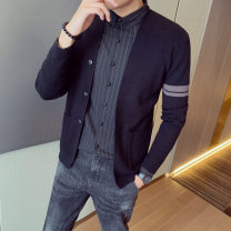 T-shirt / sweater Others Youth fashion M,L,XL,2XL,3XL,4XL routine Cardigan V-neck Long sleeves spring and autumn Slim fit 2021 leisure time Exquisite Korean style youth routine Solid color washing Fine wool (16 and 14 stitches) man-made fiber Color matching