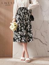 skirt Spring 2021 S M L black Mid length dress commute High waist A-line skirt Decor 25-29 years old LDYQ11415607-582578 More than 95% Chiffon L. West / longvinstein cotton printing Korean version Cotton 100%