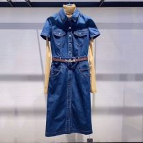Dress Spring 2021 Denim blue long sleeve, blue short sleeve 2 = s, 3 = m, 4 = L, 5 = XL longuette singleton  Short sleeve commute Polo collar High waist Solid color Single breasted Princess Dress routine Others 25-29 years old Type H Brother amashi Ol style 5500368-2057232-001 other cotton