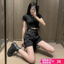 Casual pants S,M,L,XL Summer 2020 Pant Wide leg pants High waist Versatile routine 18-24 years old 96% and above cotton cotton