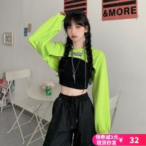 Sweater / sweater Autumn 2020 Fluorescent green, black with vest 001 M,L,XL Long sleeves UltraShort  Socket singleton  Thin money Hood easy street routine letter 91% (inclusive) - 95% (inclusive) polyester fiber polyester fiber Cotton liner