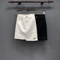 skirt Summer 2020 S,M,L,XL Black, white Middle-skirt commute High waist Irregular Solid color Type A 81% (inclusive) - 90% (inclusive) Denim cotton Hand worn, asymmetric, button, zipper, stitching, patching Korean version
