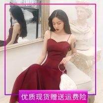 Dress Summer 2020 Hepburn, red S,M,L,XL,2XL,3XL Mid length dress singleton  Sleeveless commute V-neck High waist Solid color zipper Big swing camisole Type A Retro backless Chiffon
