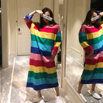 Nightdress Other / other Thin rainbow long sleeve skirt, rainbow dark short sleeve skirt, rainbow light long sleeve skirt, rainbow light short sleeve skirt, rainbow light long sleeve skirt (Cartoon Bear) Average size Sweet Long sleeves Leisure home longuette autumn stripe youth Crew neck cotton