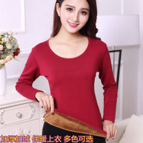 Warm top Aodexin female M,L,XL,XXL,3XL,4XL,5XL keep warm Long sleeves thickening Solid color double-deck Plush cotton Regular crew neck youth Knitted fabric Simplicity 21% (inclusive) - 40% (inclusive) 180g (including) - 250g (excluding)