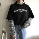 T-shirt M L XL XXL Autumn of 2018 Long sleeves Crew neck easy Regular routine commute polyester fiber 86% (inclusive) -95% (inclusive) 18-24 years old Korean version originality Letter splicing Immortal element Polyester 95% polyurethane elastic fiber (spandex) 5% Pure e-commerce (online only)