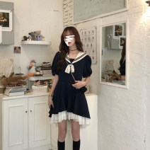 Dress Summer 2021 black S,M,L,XL,2XL Mid length dress singleton  Short sleeve commute V-neck Solid color Socket Princess Dress routine Others Type H Korean version Resin fixation YUNNFS5222H More than 95% other