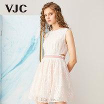 Dress Summer of 2019 Pink XS S M Short skirt Sleeveless other 25-29 years old VJC / VJC V9BT1196 More than 95% polyester fiber Polyester 100% Same model in shopping mall (sold online and offline)