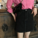 skirt Spring of 2019 L,M,S Black, black. Pre sale Short skirt Versatile High waist A-line skirt Solid color Type A 51% (inclusive) - 70% (inclusive) elinasea