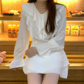 Dress Spring 2021 White, white (in stock) S, M Short skirt Long sleeves commute High waist Solid color zipper elinasea Korean version 51% (inclusive) - 70% (inclusive) Chiffon polyester fiber