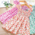 Dress Green, purple, brick red female Zhou dada 90cm,100cm,110cm,120cm,130cm Other 100% summer leisure time Skirt / vest Broken flowers other Splicing style DH043 Class B 2 years old, 3 years old, 4 years old, 5 years old, 6 years old Chinese Mainland