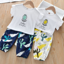 suit Zhou dada Yellow, green, sky blue 90cm,100cm,110cm,120cm,130cm female summer leisure time Short sleeve + pants 2 pieces routine No model Socket nothing other other TZ043 Class B Other 100% 2 years old, 3 years old, 4 years old, 5 years old, 6 years old Chinese Mainland