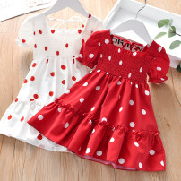Dress White, red female Zhou dada 90cm,100cm,110cm,120cm,130cm,140cm Other 100% summer Korean version Short sleeve Dot other Splicing style TZ059 Class B 2 years old, 3 years old, 4 years old, 5 years old, 6 years old, 7 years old Chinese Mainland