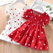 Dress White, red female Zhou dada 90cm,100cm,110cm,120cm,130cm,140cm Other 100% summer Korean version Short sleeve Dot other Splicing style TZ059 Class B 2 years old, 3 years old, 4 years old, 5 years old, 6 years old, 7 years old Chinese Mainland