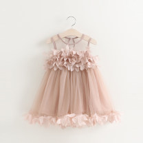 Dress female Zhou dada 90cm,100cm,110cm,120cm,130cm,140cm Other 100% summer Korean version Skirt / vest Solid color other Splicing style D7082 Class B 18 months, 2 years old, 3 years old, 4 years old, 5 years old, 6 years old, 7 years old Chinese Mainland