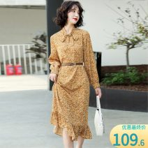Dress Spring 2021 Yellow flower, blue flower, beige flower S,M,L,XL Mid length dress singleton  Long sleeves commute other High waist Broken flowers Ruffle Skirt routine Others Type A Other / other Korean version Lotus leaf edge DMGY6618