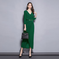 Dress Spring 2021 Green bamboo 6,8,10,12,14 longuette singleton  Long sleeves commute Dangling collar middle-waisted Decor zipper other routine Others 30-34 years old Type X RAVISH LUMINOUS Pleating, pleating, stitching, three-dimensional decoration, asymmetry, zipper, 3D, printing C937 More than 95%