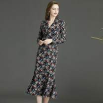Dress Winter 2020 Black, yellow, red sandalwood, dark blue, dandelion, yuanfan 8,10,12,14 longuette singleton  Long sleeves commute tailored collar middle-waisted other zipper Ruffle Skirt routine Others 30-34 years old Type X RAVISH LUMINOUS Ol style C907r knitting other