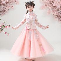 Tang costume Shrimp Pink (Autumn), red (Autumn), blue (Autumn), champagne (Autumn) 110,120,130,140,150,160 Other 100% female spring and autumn routine Other / other other Class B other Cotton liner 2, 3, 4, 5, 6, 7, 8, 9, 10, 11, 12, 13, 14 years old Chinese Mainland
