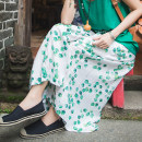 Casual pants Emerald green M, L Summer of 2019 Ninth pants Wide leg pants Natural waist commute routine 30-34 years old 96% and above Far town hemp Retro pocket hemp