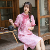 Dress Summer 2021 Pink (4.2 delivery), take long sleeves, please contact customer service S,M,L Mid length dress singleton  Short sleeve commute stand collar Loose waist Decor Socket A-line skirt routine Others Type A Far town Retro S21l18 huaxiangrong More than 95% other hemp